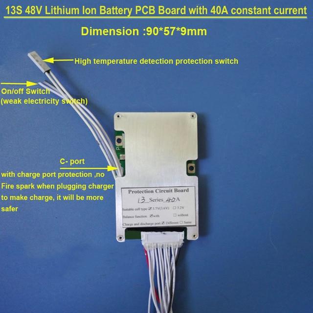 48 V 13 S PCB pokładzie 54.6 V z 30A 40A stała prąd rozładowania i bms z on off przełącznik dla litowo 18650 lub baterii Lipo BMS