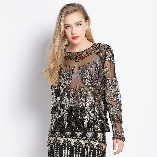 Sexy Runway Designer Beading Sequin Shirt Top Long Sleeve Perspective Sheer  Gauze Mesh Lace Blouse Women e2891eb4ad86