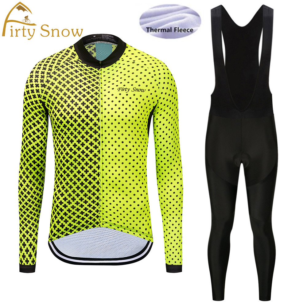 Thermal Fleece Long Sleeves Team Cycling Jersey Set with Black Bib Pants Winter Outdoor Sport Coat Suit Bicycle Clothing