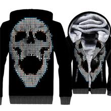 цена 2019 Winter Skull Printed 3D Hoodies Sweatshirts Men Warm Thick Fleece Jackets Mens  Casual Black Slim Fit Coat Men's Tracksuit