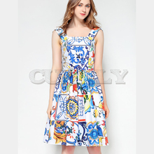 Cuerly  2019 High Quality Summer Cotton Dress Womens Painted Pottery Printed Sexy Backless Spaghetti Strap Runway