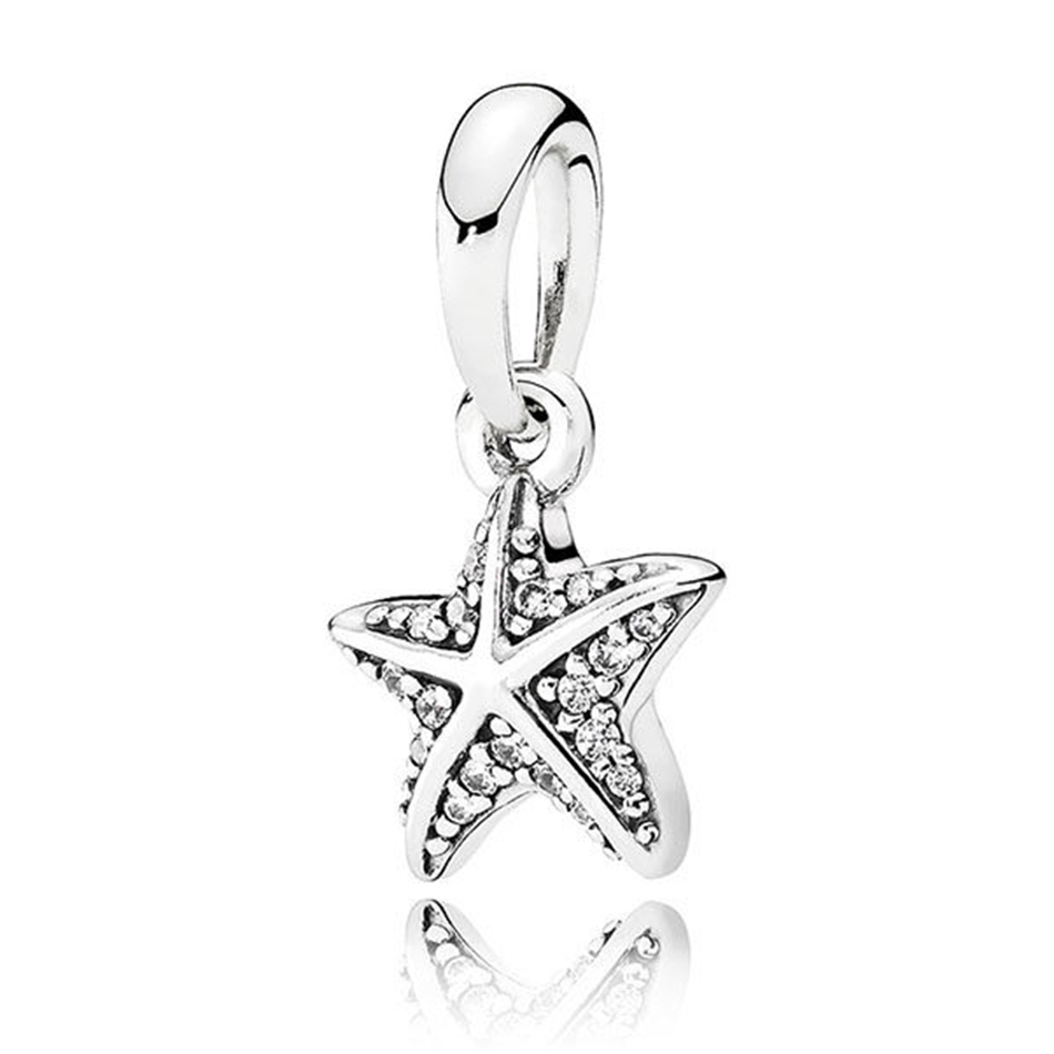 d45dcc9a1 Authentic 925 Sterling Silver Tropical Starfish With Crystal Pendant  Hanging Beads Charm Fit Pandora Bracelet Bangle