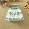 2016 Women Fashion Striped Ball Gown Mini Skirt Empire Organza High Waist Skirt Women Bottom