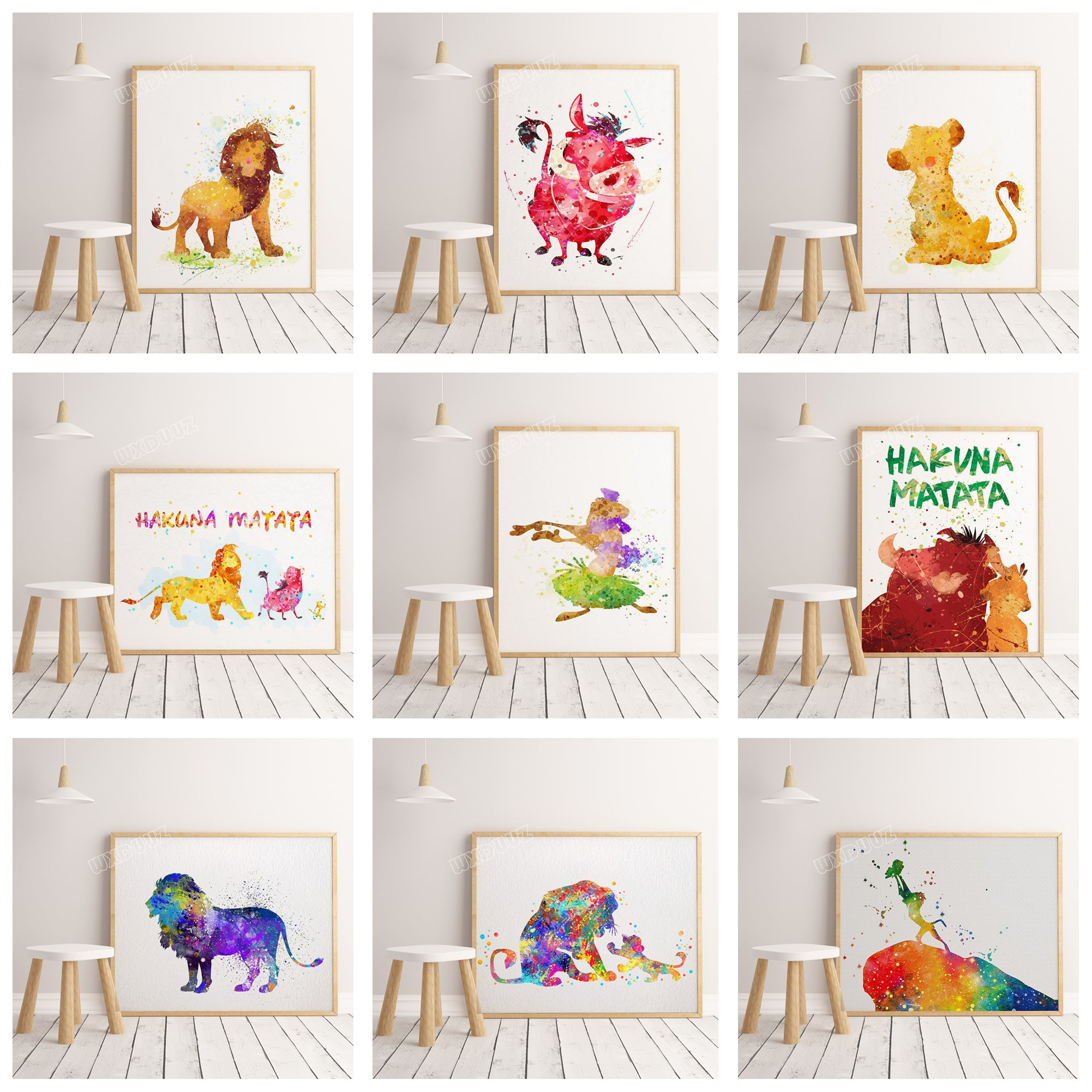 >2019 <font><b>watercolor</b></font> movie The Lion King poster cartoon children room decoration Art Decor <font><b>Home</b></font> Decor Painting canvas painting #K293