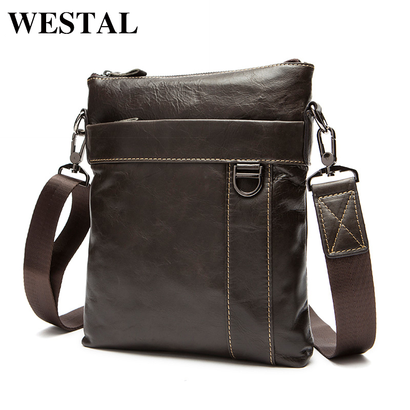 WESTAL Genuine Leather Men Bag Fashion Men's Messenger Bags Male flap cowhide Leather ba Crossbody shoulder bags Handbags 9010