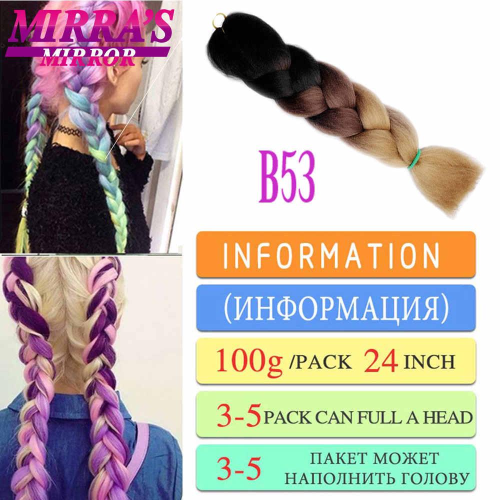 Mirra der Spiegel 24 zoll Häkeln Zöpfe Synthetische Haare Flechten Ombre Haar Extensions Jumbo Braid Haar Drei Ton Schwarz Braun