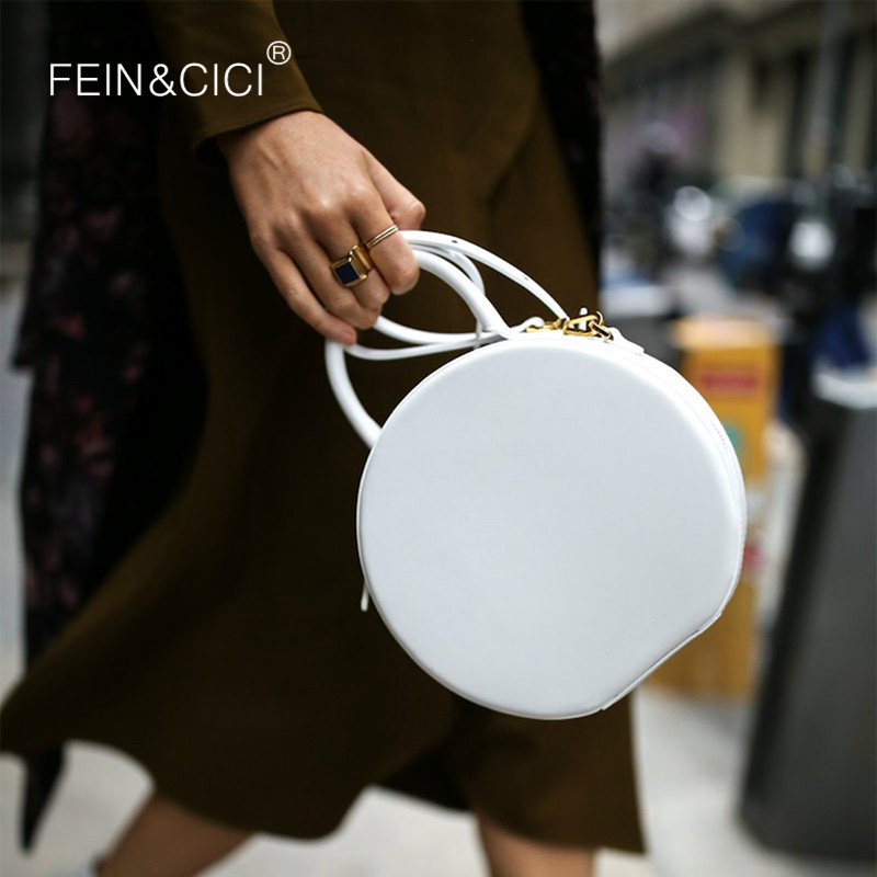 Round totes bag cute circle bags women girl 2019 summer new chic small party crossbody bag black yellow white red wholesale