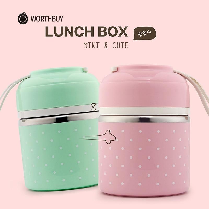 WORTHBUY Japonês Bonito Térmica Lunch Box Para Crianças Bento Caixa Recipiente De Armazenamento De Alimentos Cozinha de Aço Inoxidável À Prova de Fugas Portátil