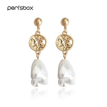 87b0bf246e2f Peri sbox oro Color Irregular Shell Pendientes para las mujeres barroco  Pendientes de botón Pendientes gota encantos Pendientes únicos