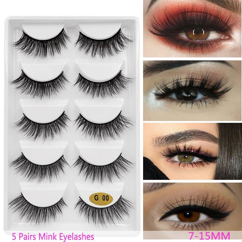 06d1bd17ce6 New 3D 5 Pairs Mink Eyelashes extension make up natural Long false eyelashes  fake eye Lashes