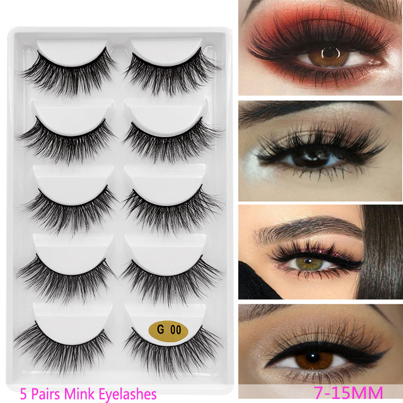 New 3D 5 Pairs Mink Eyelashes Extension Make Up Natural Long False Lashes Fake Eye Lashes Mink Makeup Wholesale Faux Cils