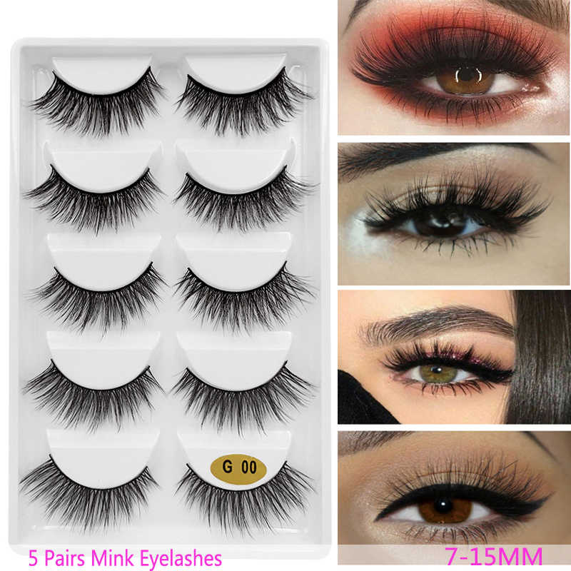 b9aad9c0287 New 3D 5 Pairs Mink Eyelashes extension make up natural Long false  eyelashes fake eye Lashes