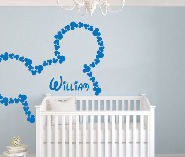 80pcs/set Personalized Custom Baby Name Wall Sticker,nursery Mickey Mouse  DIY Vinyl Wall