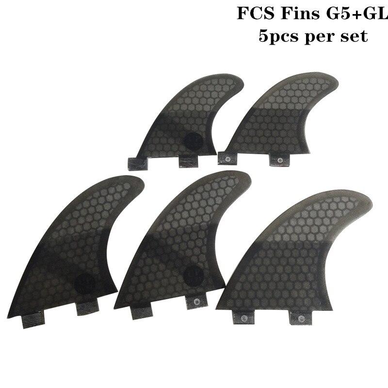 Surfing 5pcs FCS Fins G7 With GL Fin Honeycomb Fibreglass Fins G7+GL Black FCS Quilhas Fins