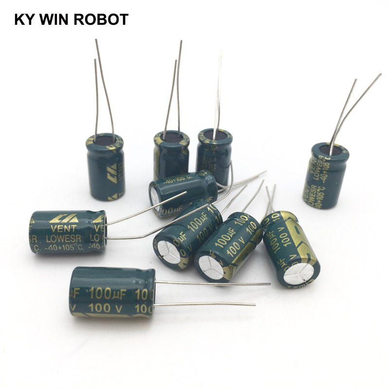 Image 4 - 10 pcs Aluminum electrolytic capacitor 100 uF 100 V 10 * 17 mm frekuensi tinggi Radial Electrolytic kapasitor-in Capacitors from Electronic Components & Supplies