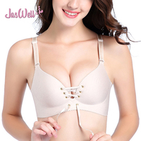 JasWell Female Sexy Seamless Bra Gather Adjustable Drawstring Women One Piece Bra Seamless Underwear Push Up