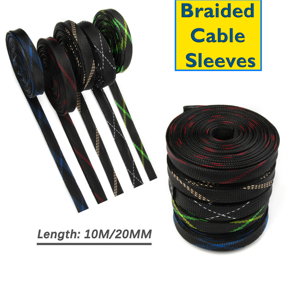 Length 10M 20mm High Density Sheathing Insulation Wire Cable Sleeving Protecting PET Nylon Braided Cable Sleeve