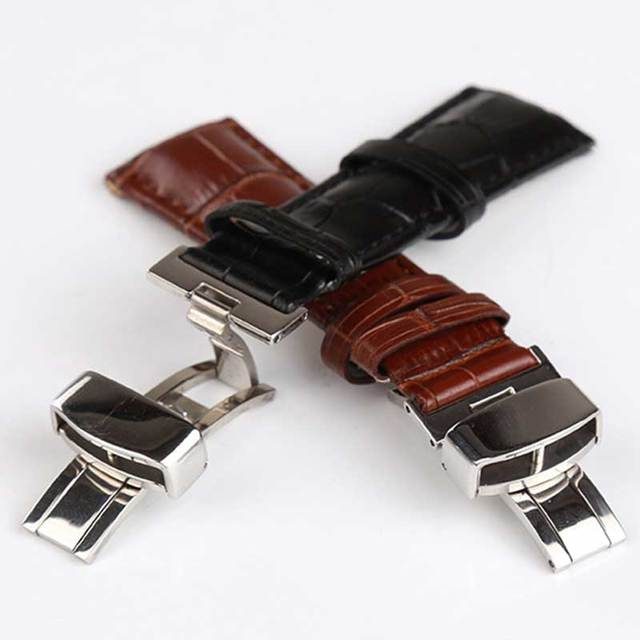 18mm 20mm 22mm 24mm Genuine Leather Polished strap butterfly stainless steel buc