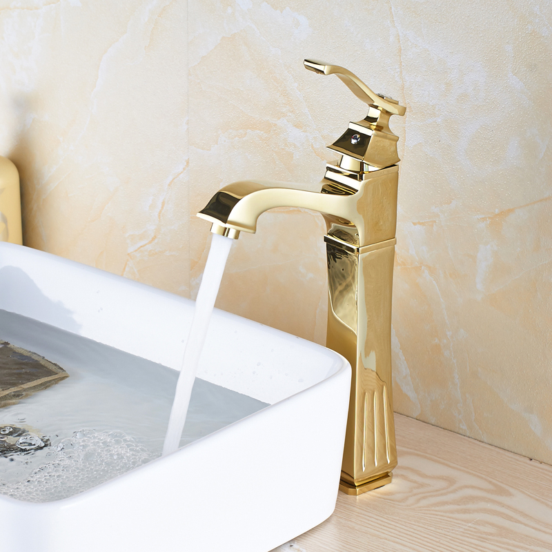 Deck Mounted Golden Color Bathroom Sink Faucet Single Handle Mixer Tap Basin Faucet with Cover Plate modern style golden color bathroom sink faucet single handle mixer tap solid brass deck mounted