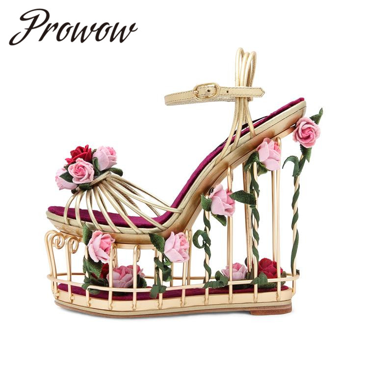 Prowow New Genuine Gold Narrow Band Floral Deco Summer Sandals Open Toe Sexy Platform HIgh Heel Sandals Cagesd Heel Sandas ShoesProwow New Genuine Gold Narrow Band Floral Deco Summer Sandals Open Toe Sexy Platform HIgh Heel Sandals Cagesd Heel Sandas Shoes