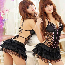 New Fashion Hot Sexy Costumes Details Sexy Lingerie Hot Dress Underwear Backless Lace Set Erotic Lingerie+G-string Black White