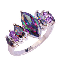 Wholesale Fashion Special Holiday Lavely Gift Marquise Cut Rainbow Sapphire & Amethyst 925 Silver Jewelry Ring Size 7 8 9 10