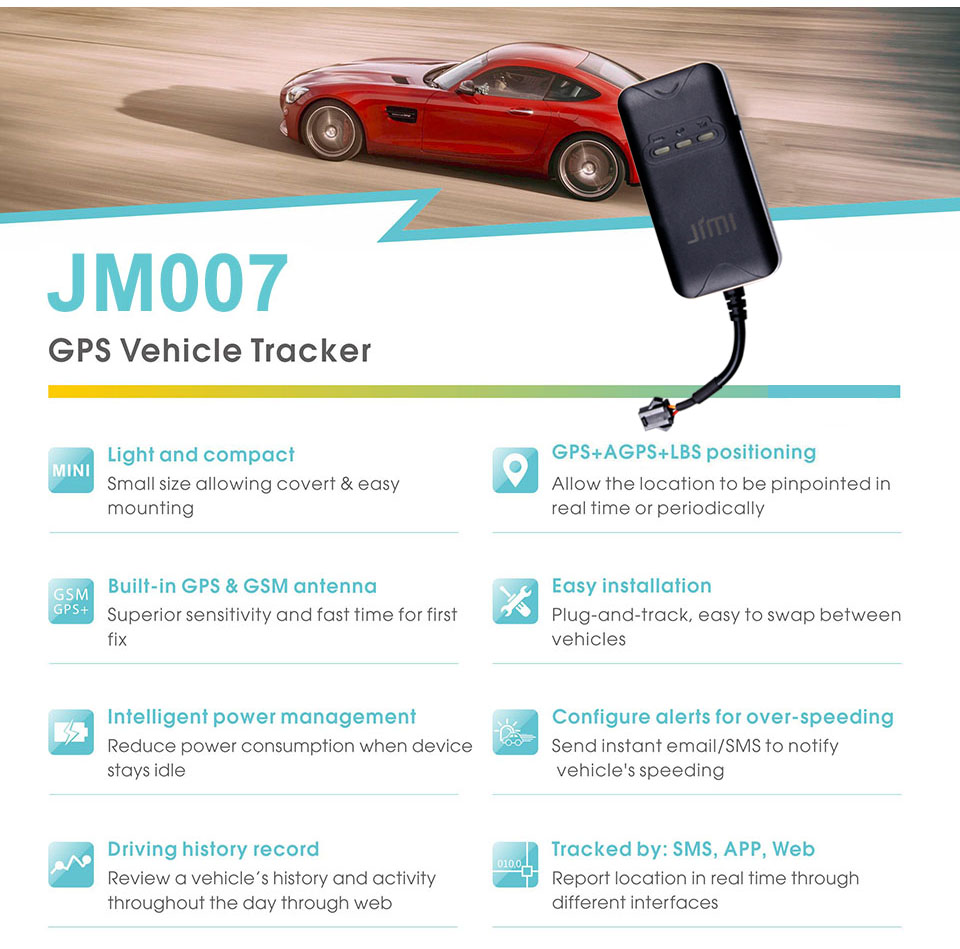 Concox JM007 Mini Anti Theft Vehicle GPS Tracker With Real Time Position By  APP for Fleet Management Car Accessories Car Locator