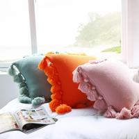 Nordic =Fringe Tassel Knitted Solid Color Cushion Cover Pillow Case Home Sofa Bed Decor