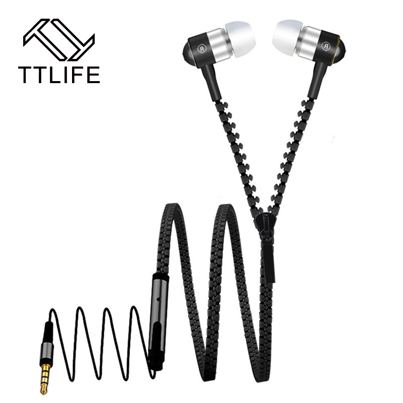 TTLIFE Brand Metal Zipper Earphone Headphones 3.5mm In-Ear Wired Earphones With Microphone Stereo Bass Headset For Mobile Phone