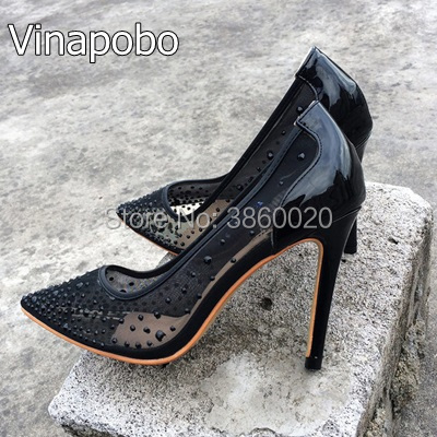 7bb24cd2dfb New Arrival Chic Black Lace Mesh Thin High Heels Classy Women Lace Flower  Pointy Stiletto Heel Pumps Fashion Shoes Hot Selling