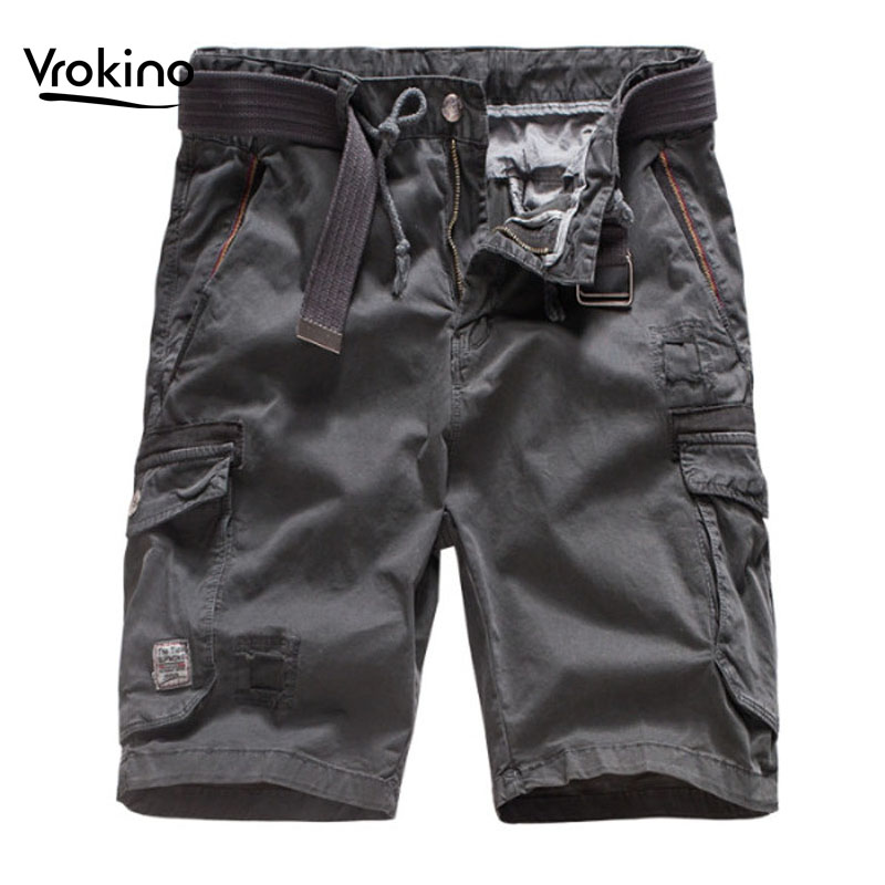 New In 2019 Summer Tooling Gold Casual Shorts Men's High Quality Cotton Loose Straight Shorts Black Gray Khaki Green 36 38