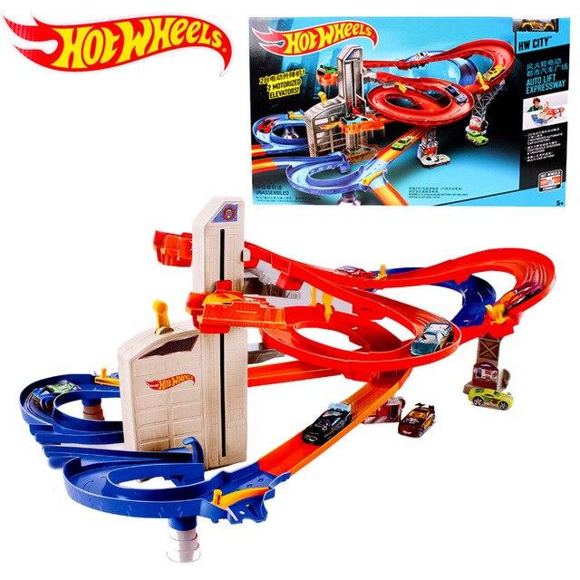 Hot Wheels Rond-Point Piste Jouet Enfants Jouets Électriques Carré Ville Miniature Modèle De Voiture Classique Antique Voitures jouets pour enfants