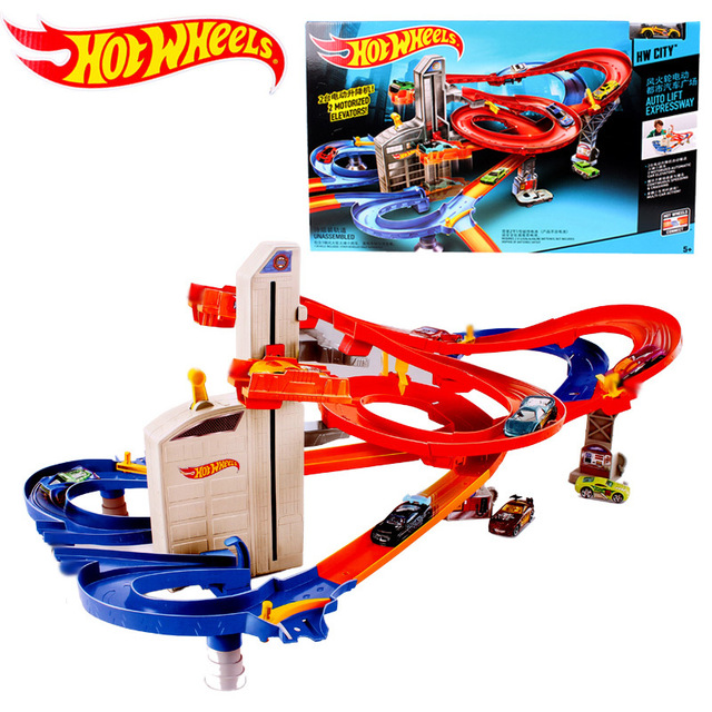 Hot Wheels Roundabout Track Playset Kids Electric Toys Square City Miniature Car Model Classic Antique Gift Toys For Children