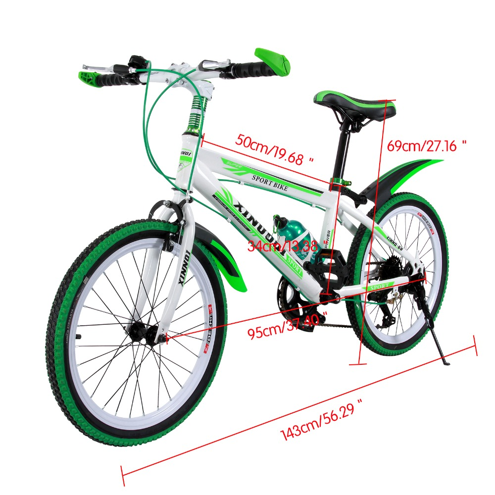 20'' 7 Speed Children Mountain Bike One-piece Wheel Aluminum MTB Double Disc Brakes Kids Bicycle Front V-brakes Rear Disc Brake chosen aluminum mountain bike hubs set wheel hub front and rear skewers quick releas disc brake hub 4 bearings 90 ring 32 hole