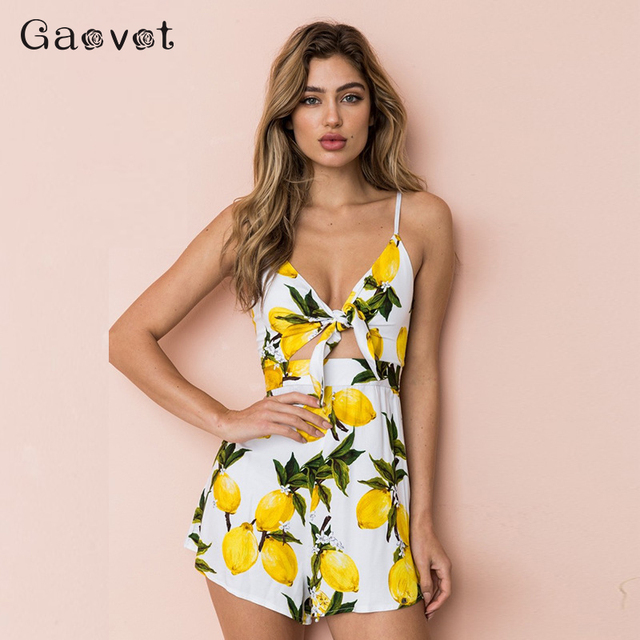 Gaovot 2019 Summer Women Chiffon Print Playsuits Sexy Deep V-Neck Spaghetti Strap Bow Hollow Out Rompers Female Jumpsuit S-XL