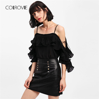 COLROVIE Flounce Pleated Open Shoulder Top 2018 New Spaghetti Strap Ruffle Woman Blouse Summer 3 4
