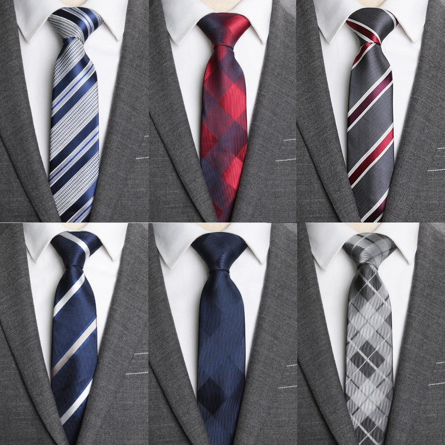 Mens Ties Slim Necktie Stripe 6cm Ties for Men Business Wedding Jacquard Bow Tie Male Dress Shirt Fashion Gift Gravata