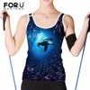 FORUDESIGNS Funny 3D Dolphin Dog Prints Women Tanks Tops Summer Sleeveless Breathable Women Crop Top Feminino