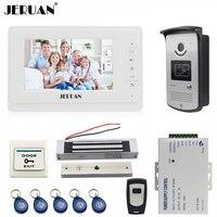 JERUAN 7 дюймов телефон видео домофон системы комплект белый мониторы 700TVL RFID Доступа камера 180 кг магнитный замок Бесплатная доставка