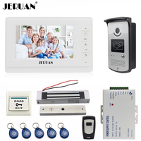 JERUAN 7 inch video door phone intercom system kit white monitor 700TVL RFID Access Camera 180Kg Magnetic lock FREE SHIPPING