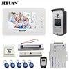 JERUAN 7 Inch Video Door Phone Intercom System Kit White Monitor 700TVL RFID Access Camera 180Kg