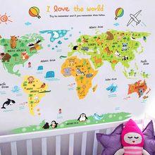 Adesivo de parede de animais do safari desenho animado, mapa mundial de animais de berçário, adesivos para decoração de quarto infantil, mapa de animais bdf99