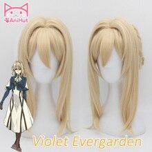 【AniHut】Violet Evergarden פאת קוספליי עמיד בחום סינטטי אור בלונד שיער קוספליי פאות עבור נשים אנימה סגול Evergarden
