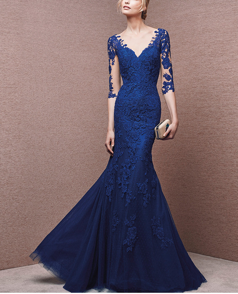 Blue 2019 Mother Of The Bride Dresses Mermaid Half Sleeves Tulle Appliques Long Wedding Party Dresses Mother Dresses For Wedding(China)
