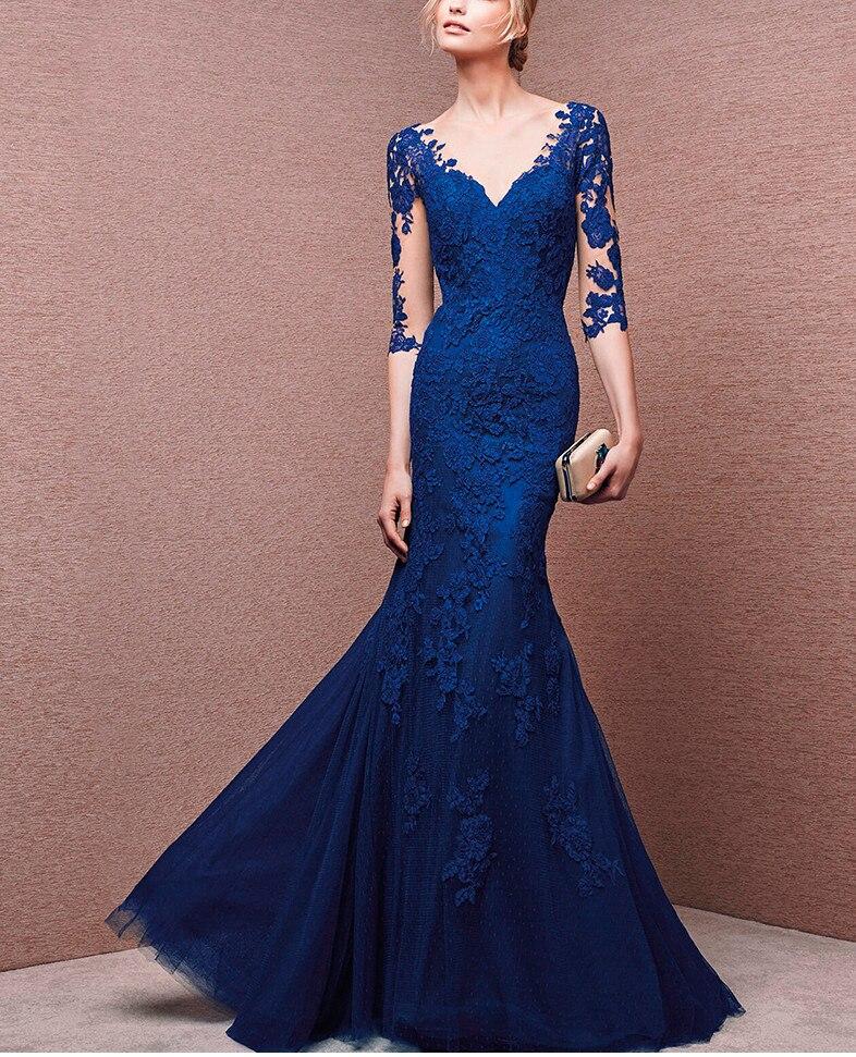 Bleu 2019 mère de la mariée robes sirène demi manches Tulle Appliques longues robes de mariée mère robes pour mariage