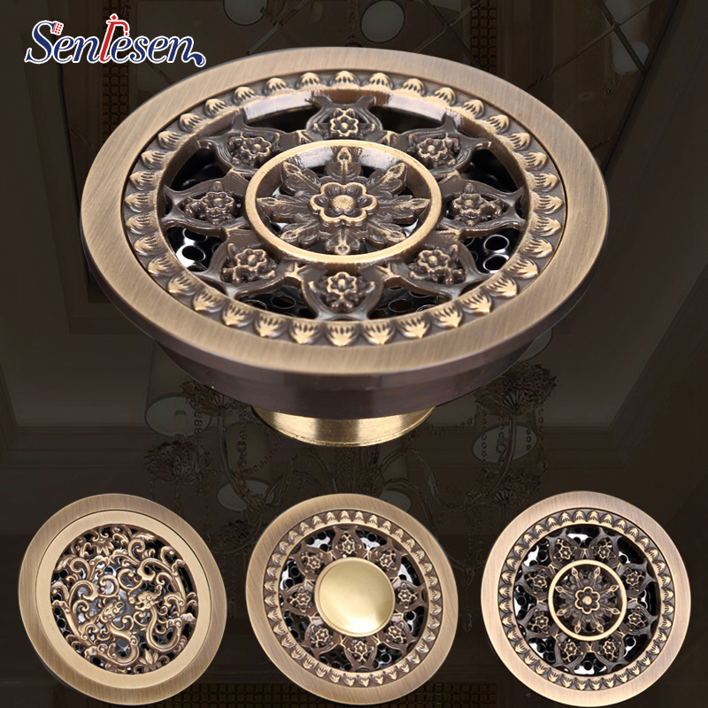 Senlesen Drains bathroom floor drain shower fioor cover antique brass shower drain Bathtub Shower Drains цена