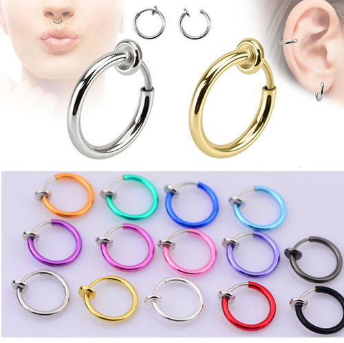 2 Piece Fake Nose Ring Goth Punk Lip Ear Nose Clip On Fake