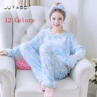 12 Colors 2017 Winter Women Pajama Sets Ladies Animal Print Sleepwear Flannel Soft Comfortable Home Wear