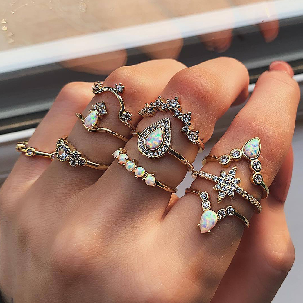 10 Pcs/set Bohemian Retro Water Drops Star Crown Crystal Gold Ring Women Party Jewelry Wedding Accessories Engagement Ring-in Engagement Rings from Jewelry & Accessories on Aliexpress.com | Alibaba Group