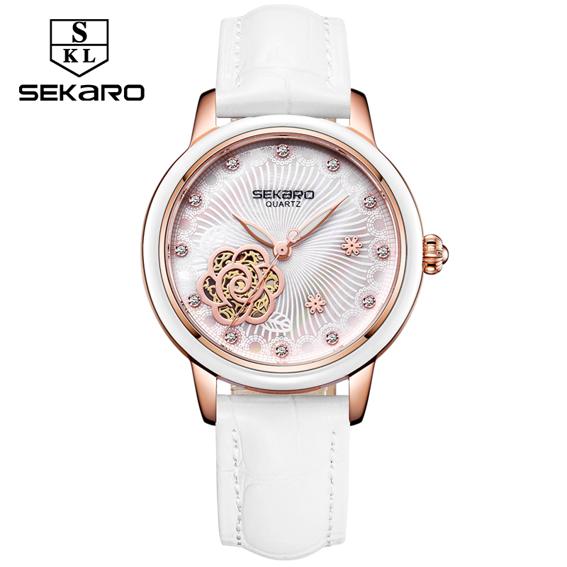 Sekaro Women Luxury Top Brand Watch Ladys Lucky Flower Fashion Wrist Watch Women's Wristwatch Montre Femme Quartz Watch For Gift купить недорого в Москве